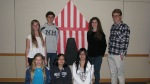 YAAC members at the Big Top Scavenger Hunt event at the Central Library. Back row, left to right: Kira Woods, Marco Bruscia, Audrey Bruscia, Ethan Lindt. Front row left to right: Katie Gerlt, Florence Duong, Vivian Pham. March 15, 2012.