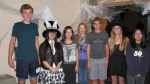 Council members before a Family Halloween Movie Night event in the Central Library Friends Room, October 30th, 2012. Left to right: Ethan Lindt, Vivian Pham, Lily Williams, Katie Gerlt, Dain Woods, Kira Woods, Florence Duong.