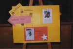 A sign for an author visit from Theodore Taylor ('The Cay'), February 7, 1996. This was one of the early events created by YAAC members.