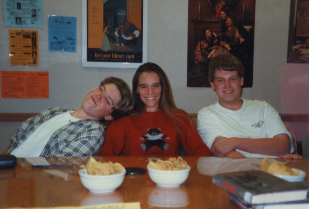 YAAC members Drew Boortz, Chris Selna, and Grant Gochnauer at a monthly meeting, 1995 or 1996.